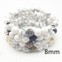 Wholesale White Tridacna - Summer Style Natural Stones Cubic Zircon Paved Bead Bracelet Men White Tridacna Bracelet For Women Gift