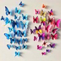 Wholesale Kids Wall Decals Posters - 12 Pcs Lot PVC Butterfly Decals 3D Wall Stickers Home Decor Poster for Kids Rooms Adhesive to Wall Decoration Adesivo De Parede