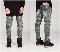 Wholesale Blue Skinny Jeans For Men - Wholesale-New mens Biker Jeans Motorcycle Slim Fit Washed yellow Black Grey Blue Moto Denim skinny Elastic Pants Joggers For Men jeans