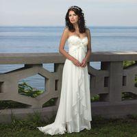Wholesale Lace Up Strapless Chiffon Dress - Ready to Ship Strapless Crisscross Ruched Empire Waist Beach Wedding Dresses Chiffon A-line Bridal Dress vestidos de novia