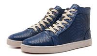 ingrosso serpente blu rosso-BLue snake Uomo Casual Scarpe da donna Unisex Rosso Bottom Multi Color High Top Luxury Brand Flats Sneaker Fashion Design Estate Autum scarpe