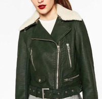 Wholesale Fur Cuffs - Wholesale- 2016fw Fashion Woman Bottle green Faux leather jacket with detachable faux fur lapel collar Zippers pockets cuffs hem belted