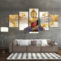 Wholesale Decorative Wall Hanging Art - 5 Panel Hanging Painting Free Shipping Buddha Art Canvas Wall Art Buddha Picture Modern Living Room Decorative Cuadros