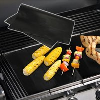 Wholesale Bbq Grill Mesh - BBQ Grill Mat Non-Stick BBQ Grill Mat 2mm Thick Durable 33*40cm Reusable Gas Barbecue Grilling Mat Easy Cleaning Heat Resistant 5pc box