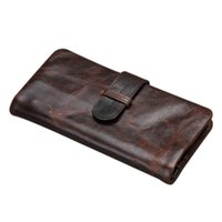 Wholesale Oil Credit Cards - New Vintage Oil Waxed Genuine leather Men Organizer Wallet Money Purse Card holder Phone Photo Coin Package Zipper Clutch Bag