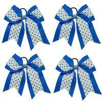 Wholesale Ponytail Holder Silver - 10 Pcs lot Polka Dot Cheer Bow With Silver Diamante Grosgrain Ponytail Holder For Cheerleader Girl