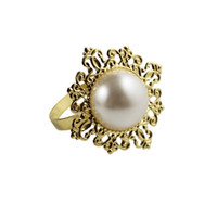 Wholesale Wedding Table Stones - Wholesale- Free shipping hot for sale 12   a lot of top grade pearl inlaid with precious stones napkin ring table napkin wedding decoration
