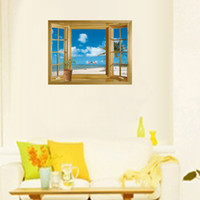 Wholesale 3d window art for wall online - Removable Wall Stickers Scenery Landscape Wallpaper Mural Art PVC Vinyl Translucent Shader Decal Beach Window View Hot Sell hl J R