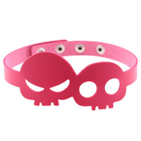 Punk Style Sexy Skull Head Leather Chokers Colar Neck Neck Strap For Women Halloween Gift