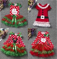Wholesale Winter Clothes For Little Girls - Christmas Baby Girl Dress Red Festival Kids Tulle Costume For Girls Clothes Little Baby Tutu Dress Children's Clothing