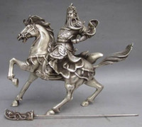 Wholesale Chinese Silver Statue - Chinese Collectable Tibet Silver Warrior God Guan Yu & Horse Statue#1