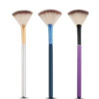 Wholesale Synthetic Mixed Hair Blends - Mix Color Makeup Slim Fan Shape Powder Concealor Blending Finishing Highlighter Highlighting Contour Brush Cosmetic beauty tool