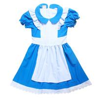 алиса чудесные платья оптовых-симпатичные девушки платье мультфильм Алиса в Стране Чудес хлопок причинно-следственной платье для 4-12years девушки дети дети vestido костюм летняя одежда
