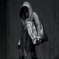 Wholesale Trench Coat Korean Style Wool - Wholesale- Halloween Autumn Winter Mens Korean Style Jacket Warm Hooded Punk Vogue Cloak Woolen Trench British Casual Coats Free Shipping