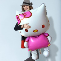 Wholesale Helium Balloons Big - 114*70CM Hello Kitty Aluminium balloons big helium mylar balloons for Christmas party baby foil ballon baloes globos Birthday Balls