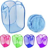 faltbare wäschekörbe großhandel-Faltbare Mesh Wäschekorb Kleidung Lagerung liefert Pop Up Waschen Kleidung Wäschekorb Korb Korb Mesh Aufbewahrungstasche SN2958
