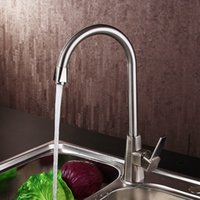 Wholesale Fitting Sink Taps - Brushed Faucets Brass Kitchen Faucet Sink Mixer Water Tap Single Hole Hot Cold Kitchen Faucets Deck Mounted Taps