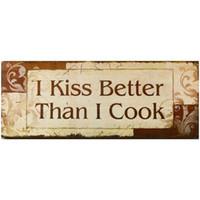 ingrosso bacio segno-Chalk Board Sign - Cartello decorativo in legno da parete I Kiss Better Than I Cook Arancione Marrone Beige