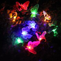 Compra Luci Farfalle Solari-Thrisdar 4M 12Leds Giardino solare della farfalla Garden Fairy Garland Outdoor Fiber Optic Patio solare Garland Christmas Fairy Light ZJ0346