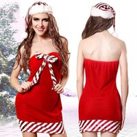 Xmas Sexy Christmas Costumes Ladies Sexy Santa Costume Women Christmas Party Tube Dress with Hat Set Cosplay Suit