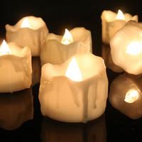 батареи для светодиодных свечей оптовых-Беспламенное Мерцание Слеза Воск Падение Свечи Мини-Батарейный Чай Огни Новые Приходят Реалистичные Светодиодные Чай Свет Свечи