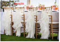 Wholesale Wedding Decorations Vintage - 2016 Organza Ruffles Vintage Romantic Beautiful Chair Sash Chair Covers Wedding Decorations Wedding Supplies Sample G01