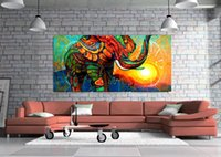 Wholesale Colourful Art - Unframed Wall Art Oil Painting On Canvas Animal Paintings Colourful Elephant and Sun Abstract Impressionist Picture Decor Living Room Decor