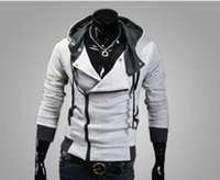 Wholesale Men Slant Hoodie - 2017 Autumn Winter Clothes for Men Hoodies and Sweatshirts Fit Slim Hoodies Slant Zip Patchwork 7 Colors US Size XS-XL