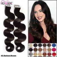 Wholesale Tape Hair Extension Brown - Tape In Hair Extensions Remy 40 Pieces Brown Brazilian Body Wave Pu Taped Skin Weft Hair Extension 24 100% Human Hair Free Shipping