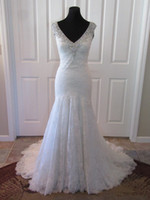 Wholesale Chantilly Lace Gown - Soft Chantilly Lace V Neck Sheer Straps Beaded Crystals Low Back Custom Made Bridal Gown Wedding Dresses Mermaid COR-1154