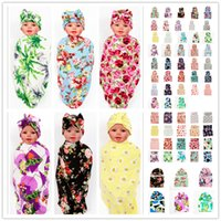 Wholesale Baby Headbands Cloth Flower - 92 Colors Newborn Baby Swaddle Wrap Blanket Hat Set Infant Kids Flower Floral Swaddle Soft Cotton Wrap Cloth Knot Bow Cap Headbands BHBZ07