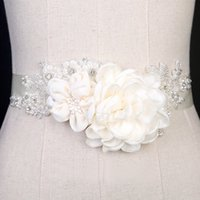 Wholesale Handmade Sashes - 2017 Elegant 3D Flowers Bridal Sashes Cheap Pearls Beads Handmade Accessories Bridesmaid Wedding Dresses Belt Free Shipping