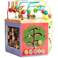 Wood Baby Toys 8 en 1 Multi-función Hexaédrica Wise Box Around Bead Color Animales Reconocimiento Aprendizaje temprano Juguetes de madera educativos Regalo