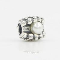 pulseras pandora imitación encantos al por mayor-Granos europeos DIY para la joyería de Pandora con la perla de imitación del estilo antiguo Bijoux de plata del encanto de los granos cupieron los encantos de Pandora Pulseras Collares