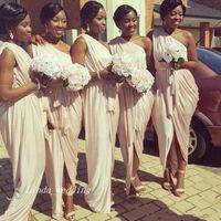 Wholesale Unique Bridesmaid Gowns - 2017 Cheap South Afraican Black Girls Long Bridesmaid Dress Unique One Shoulder Formal Women Maid of Honor Gown Plus Size Custom Made