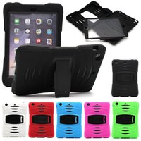 Wholesale Ipad Mini Silicon Cases - 2 in 1 Robot Hybrid Heavy Duty Dust shock wave PC + Silicon case cover with stand Hang holder For ipad 2 3 4 air 1 2 mini 4 Samsung tab