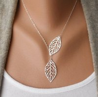Wholesale Wedding Chokers Necklaces - Wholesale- 2017 New Vintage Big Leaf Pendant Necklace Clavicle Chain For Women fashion necklace Wedding Event Jewelry