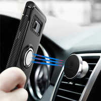 Wholesale Jacket For Mobile - FOR Samsung S8 plus ring armor bracket mobile phone case two-in-one anti-wrestling car magnetized sintered jacket S7 Edge protective case
