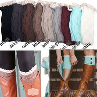 Wholesale Wholesale Lace Trim Boot Sock - Wholesale- Women's Crochet Knitted Lace Trim Toppers Cuffs Liner Leg Warmers Boot Socks