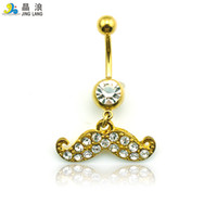 Wholesale Wholesale Mustache Jewelry - New Style! DIY New Arrival Wholesale Fashion Metal Golden Plated Mustache Shape Belly Button Rings For Women Body Jewelry