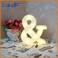 Wholesale Sign Alphabet Letters - White Letter & LED Marquee Sign Alphabet Light Indoor Wall Decoration Light Up Night Light Kid Gift