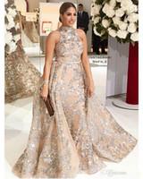 Wholesale tassel prom dresses - Sequined Appliques Mermaid Overskirt Evening Dresses 2018 New Yousef Aljasmi Dubai Arabic High Neck Plus Size Occasion Prom Party Dress 229