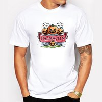 Wholesale T Shirts Halloween Men - Halloween Pumpkin Summer Men T Shirt Plus Size O-neck Cotton Happy Halloween White T-shirt Swag Fitness Casual Tee