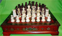Wholesale Lighted Coffee Table - Collectibles Vintage 32 chess set with wooden Coffee table