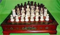 conjuntos de xadrez de madeira venda por atacado-Collectibles Vintage 32 jogo de xadrez com mesa de café de madeira