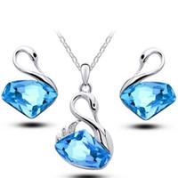 ingrosso collana di cigno set-Swan Gold Silver Plated Crystal Earring Fashion Swarovski Set di gioielli per le donne da sposa Cassic Full Diamond Clavicle Chain