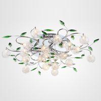 ingrosso le luci del soffitto lasciano-Plafoniera a LED Foglie verdi moderne Plafoniera a sfera in cristallo chiaro Plafoniera in filo di alluminio Lampada da soggiorno Lampadario 6/10/15 luci