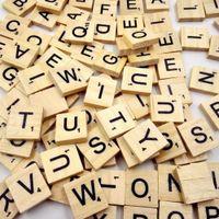 Wholesale Jigsaw Letters Wholesale - 100pc pack Wooden Puzzle Box Alphabet Scrabble Tiles Letters Jigsaw puzzle squares For Crafts Wood toys for Children boys girls
