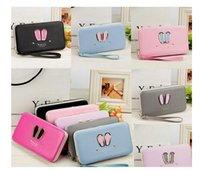Wholesale Purse Korea Cute - Unique New Women Korea Long Wallet Phone Card Holder Cute Rabbit Ears Beautiful Purse