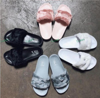 Wholesale Golf Sandals Men - Brand New 2017 Rihanna Fenty Leadcat Fur Slides - Pink, Black,White,Red,Grey Slide Indoor Sandals Womens Slippers retail Free Shipping